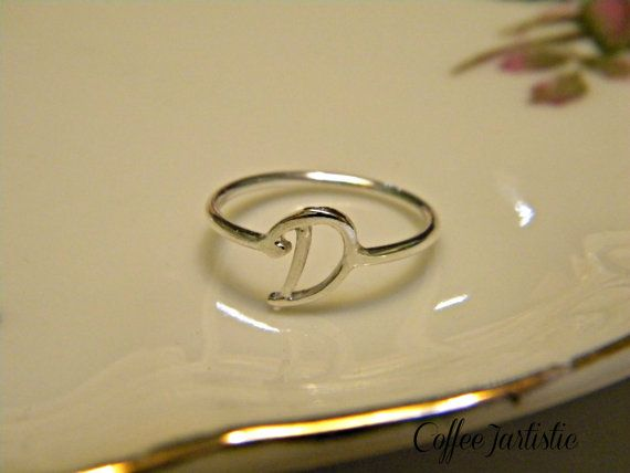 Handcrafted Silver Letter D Ring by CoffeeJArtistic on Etsy