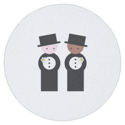 Two grooms one caucasian, one colored round paper coaster
