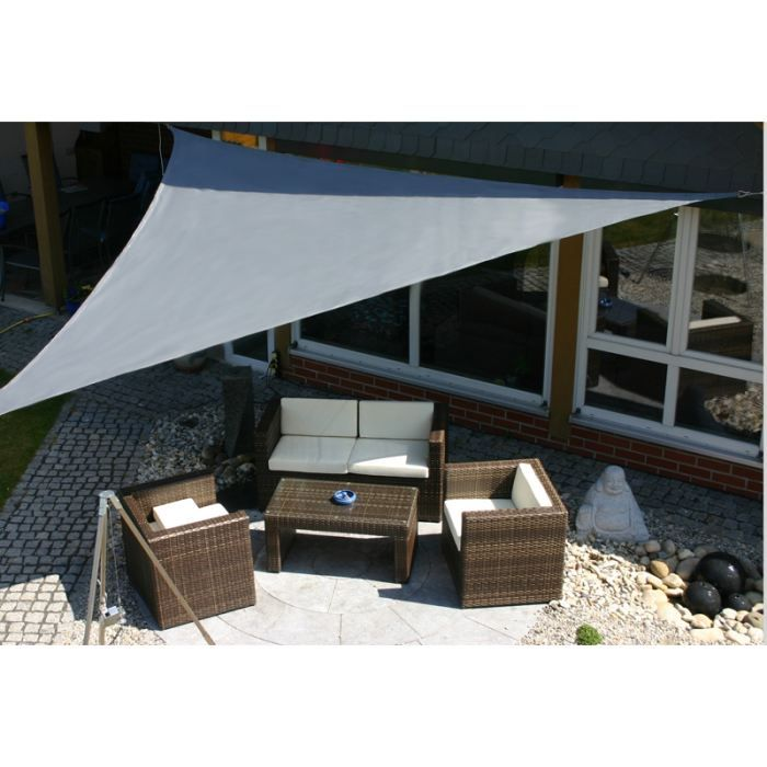 parasol ombrage voile d 39 ombrage toile solaire triangle 3x3x3 gris d coration terrasse. Black Bedroom Furniture Sets. Home Design Ideas