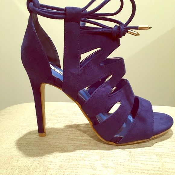 """Blue Ur Mind Heels   All Eyes On You with these Statement Heels  Color: Dark Blue. Heel Height: 4 1/2"""" US Size 7.5 Cape Robbin Shoes Heels"""