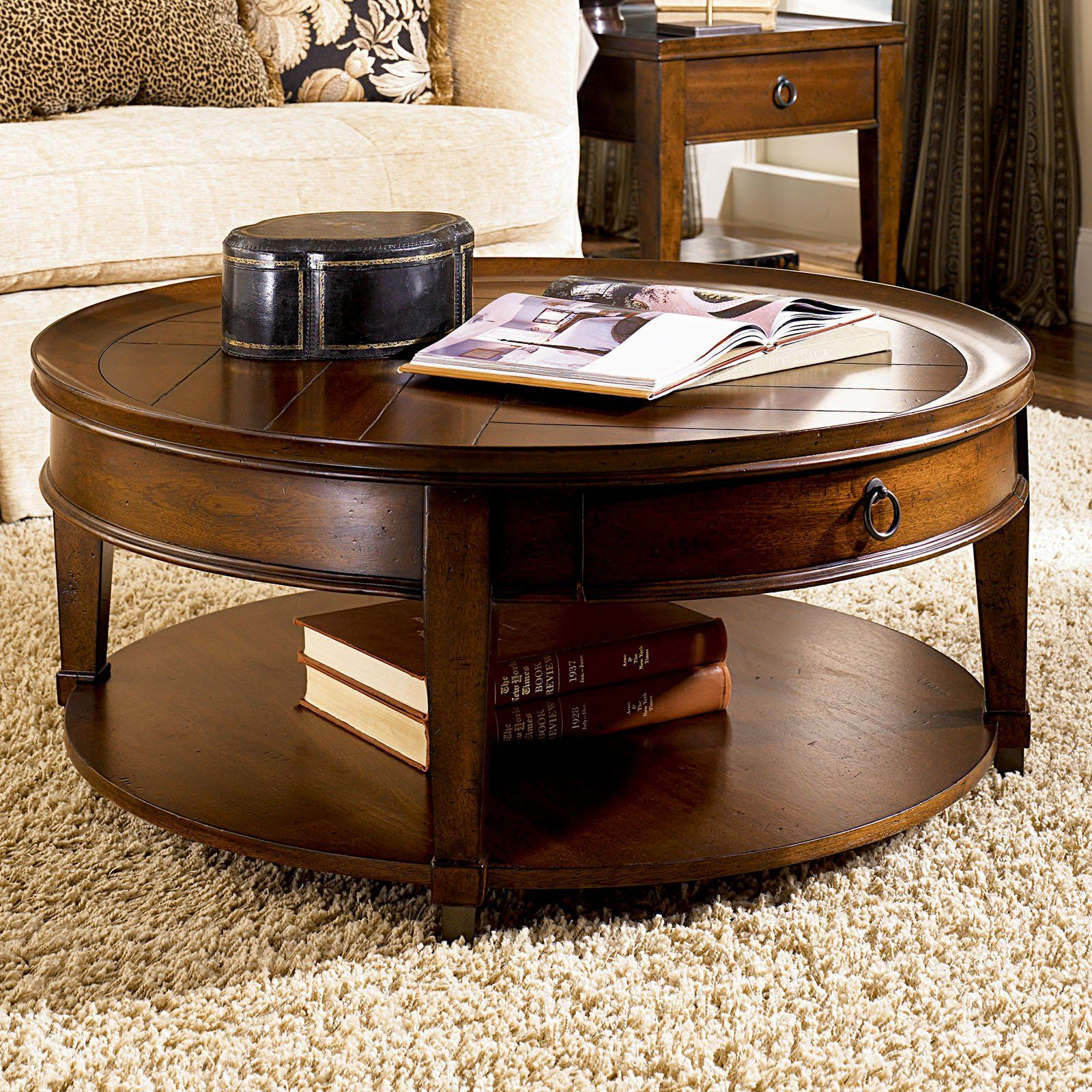 Hammary sunset valley round cocktail table rich mahogany