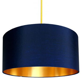 Midnight Blue Lampshades With Copper Or Gold Lining Blue Lamp Shade Lampshades Fabric Lampshade