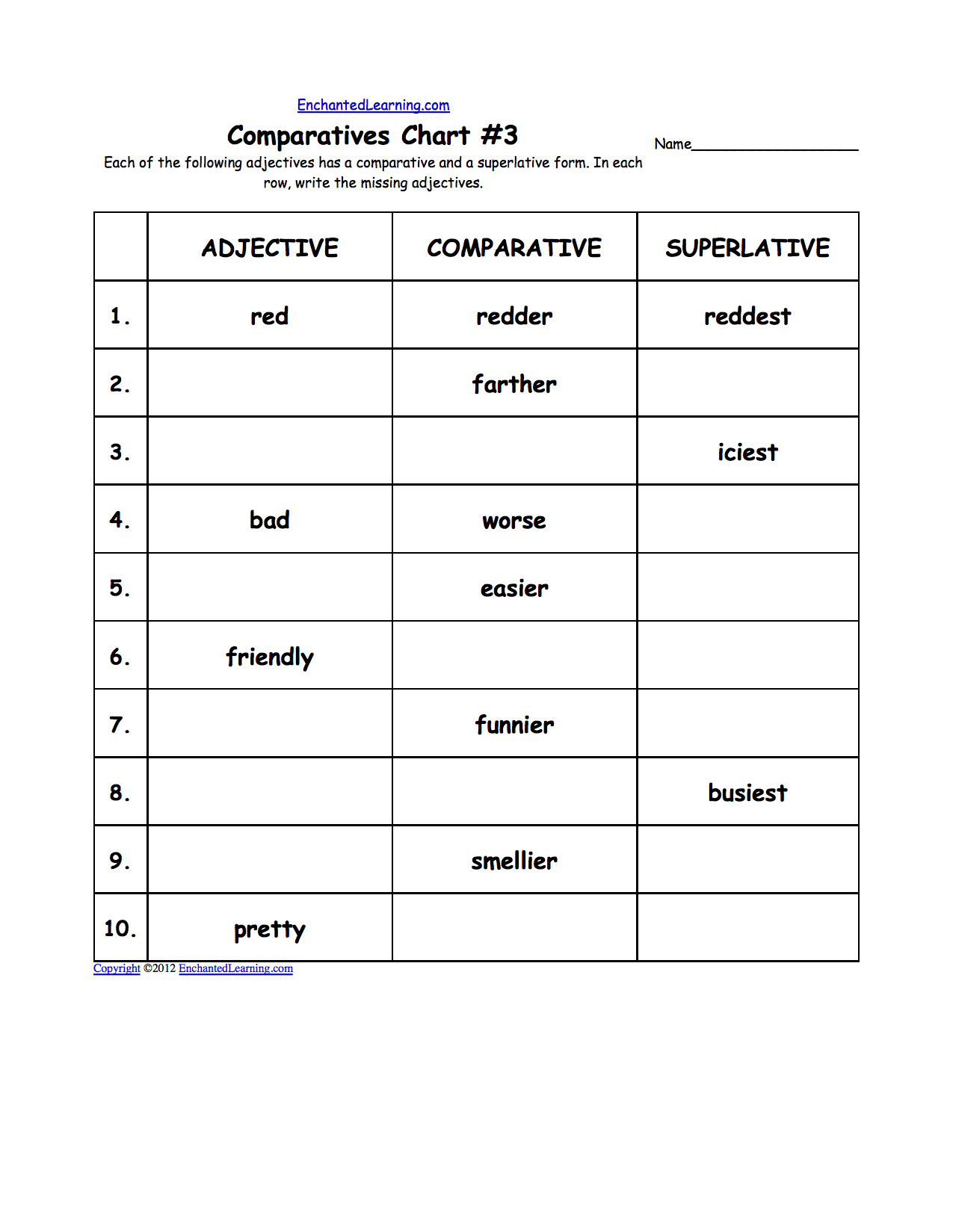 worksheet Comparatives And Superlatives Worksheets comparative and superlative adjectives enchantedlearning com com