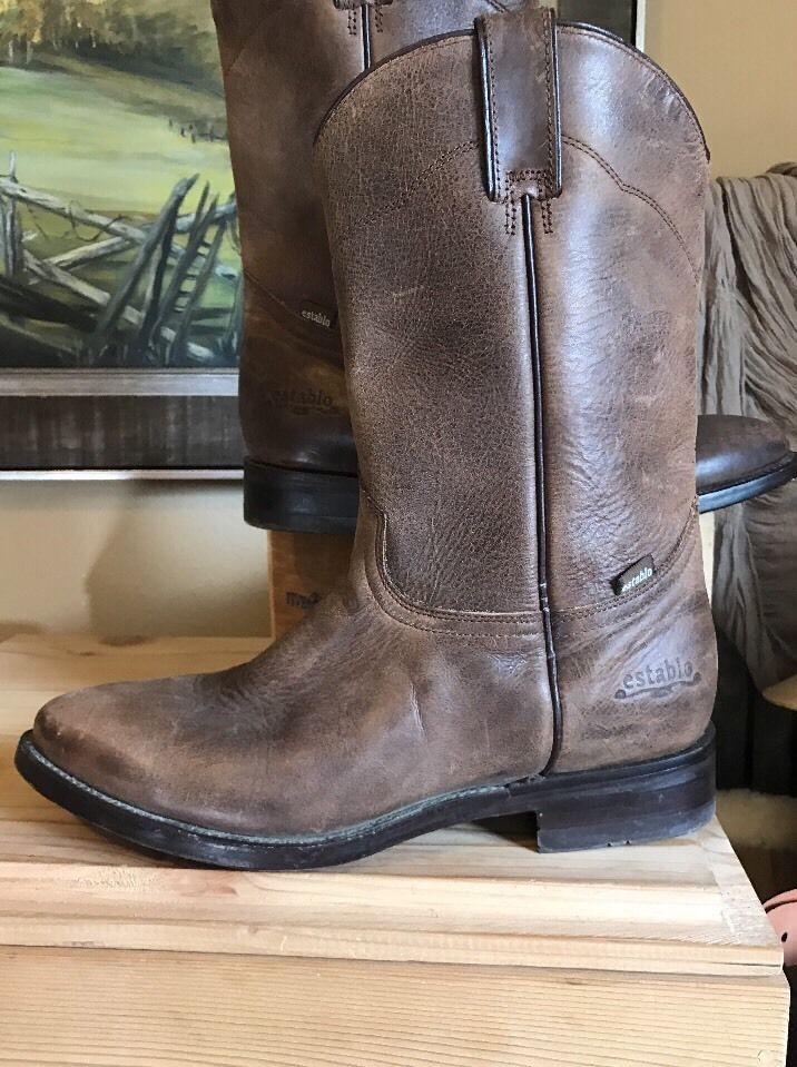 Mens Establo Pull On Roper Light Brown Leather Washed Cowboy Western Boots 8 5 Ebay Boots Western Boots Men S Pull On Boots