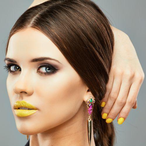 Yellow Nails And Make-Up