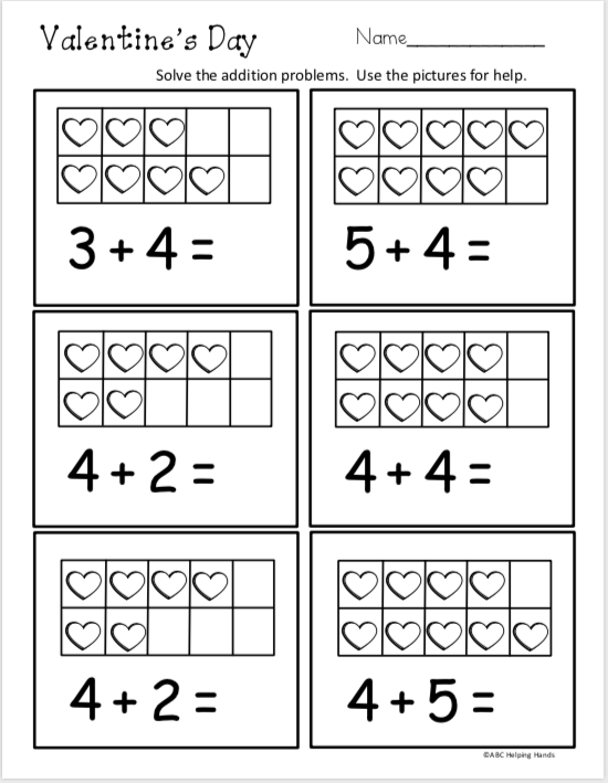 Free February Kindergarten Math Addition Madebyteachers Kindergarten Math Worksheets Free Kindergarten Math Free Kindergarten Math Worksheets