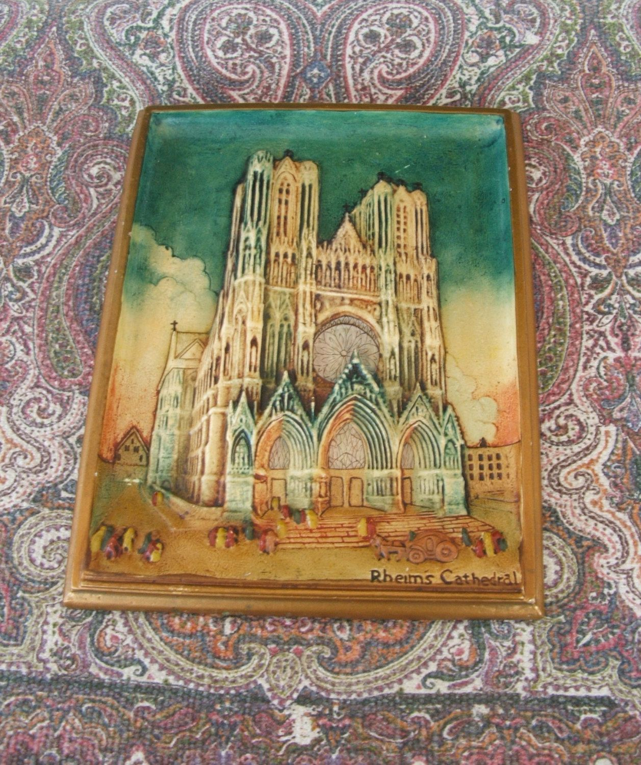 Vintage Rheims Cathedral plaster or chalkware plaque ~~~ Notre Dame de Reims by lookonmytreasures on Etsy