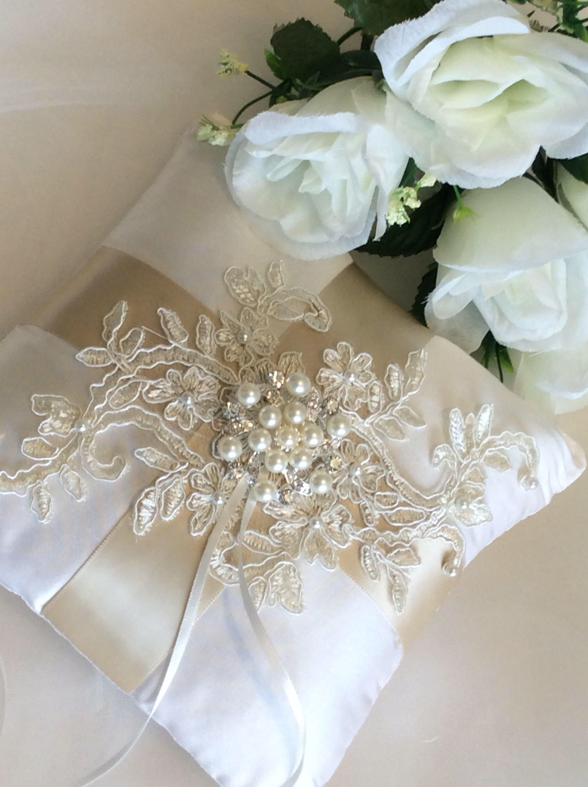 Ivory Ring Bearer Pillow, Lace Ring Pillow, Ivory Silk