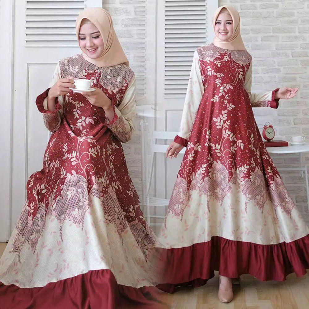 Baju Gamis Pesta Wanita Terbaru Gamis Naswa Motif Bunga  Gaun