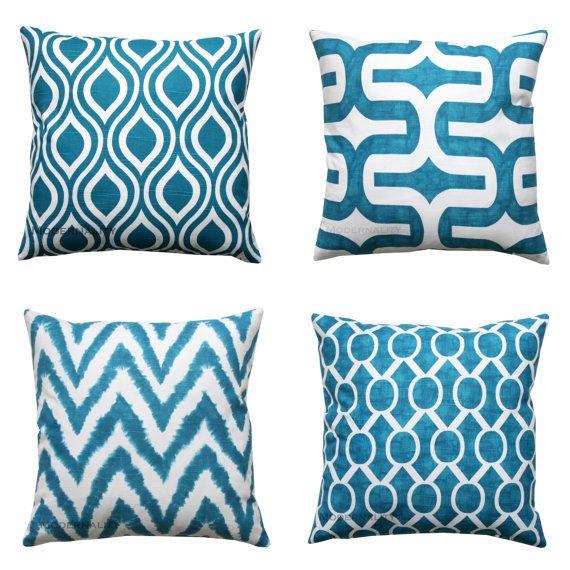 Cojines decorativos funda de almohada color turquesa for Cojines para sofas