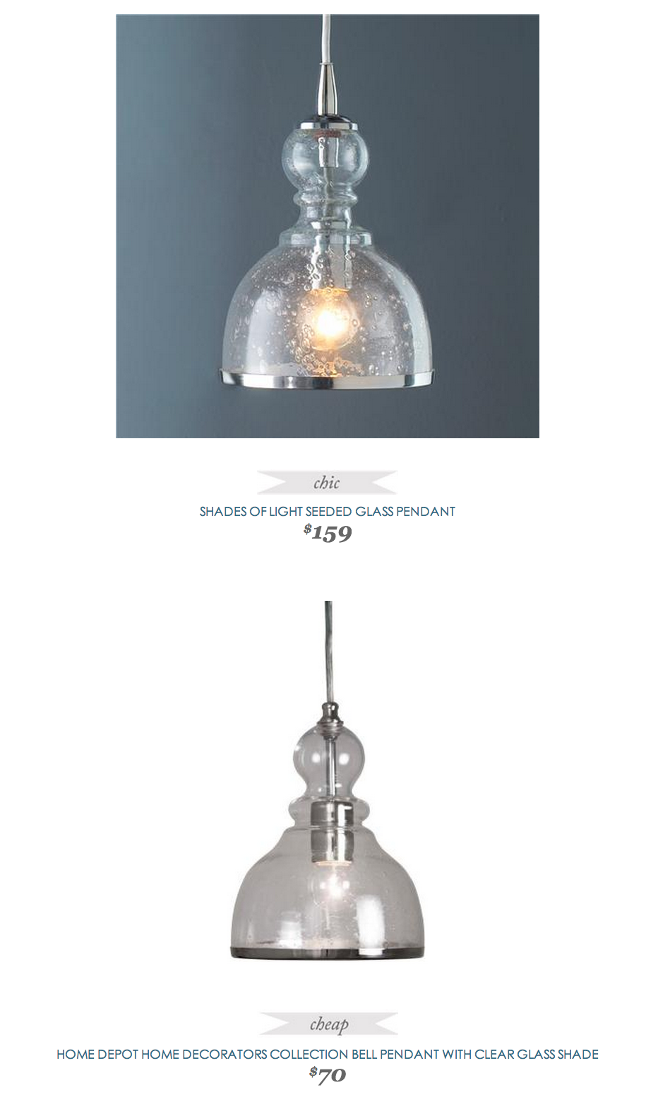 Beau Copy Cat Chic Find | SHADES OF LIGHT SEEDED GLASS PENDANT Vs HOME DEPOT HOME  DECORATORS
