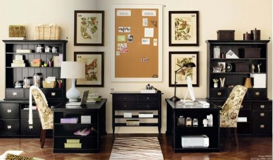 His and Her Office Space Home office layouts, Home