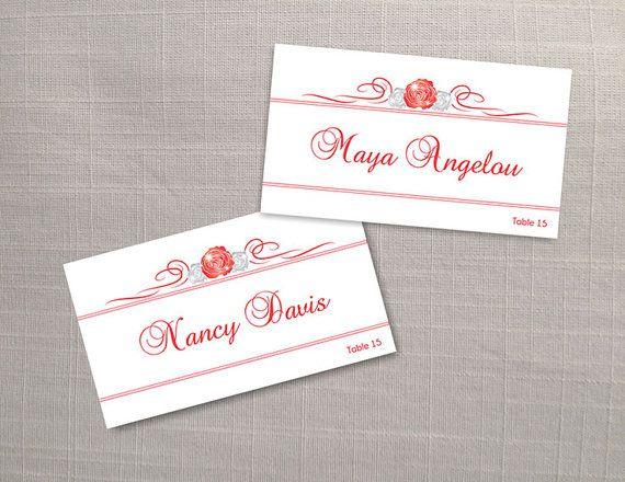 diy printable wedding place name card template editable ms word