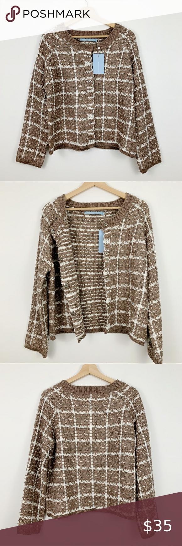 Michelle Nicole Wool Blend Sweater L Cardigan Tan New Michelle Nicole Wool Blend Cardigan Sweater In Size Large Wool Blend Sweater Clothes Design Wool Sweaters