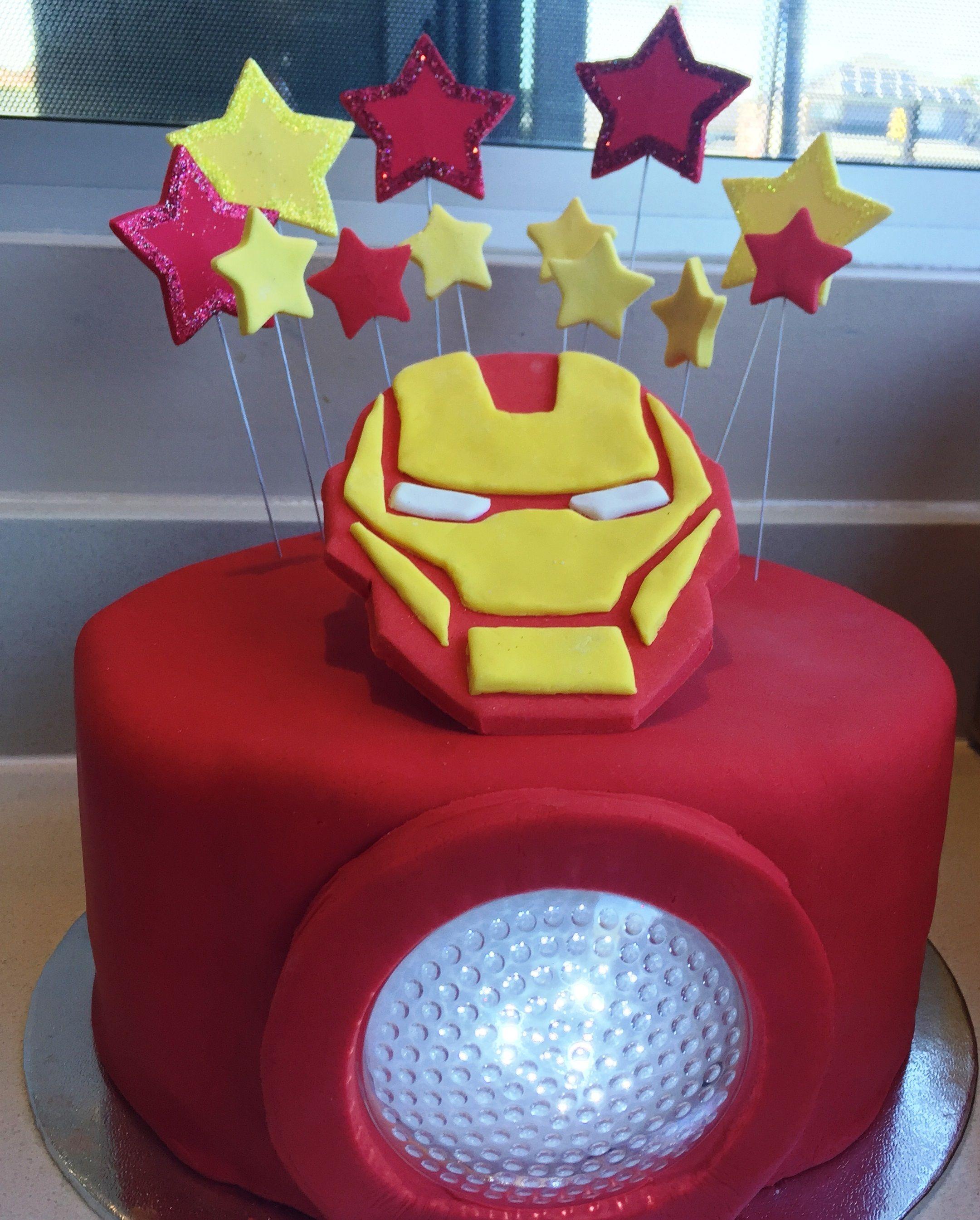 Light up Iron Man cake Chocolate mud cake with chocolate ganache