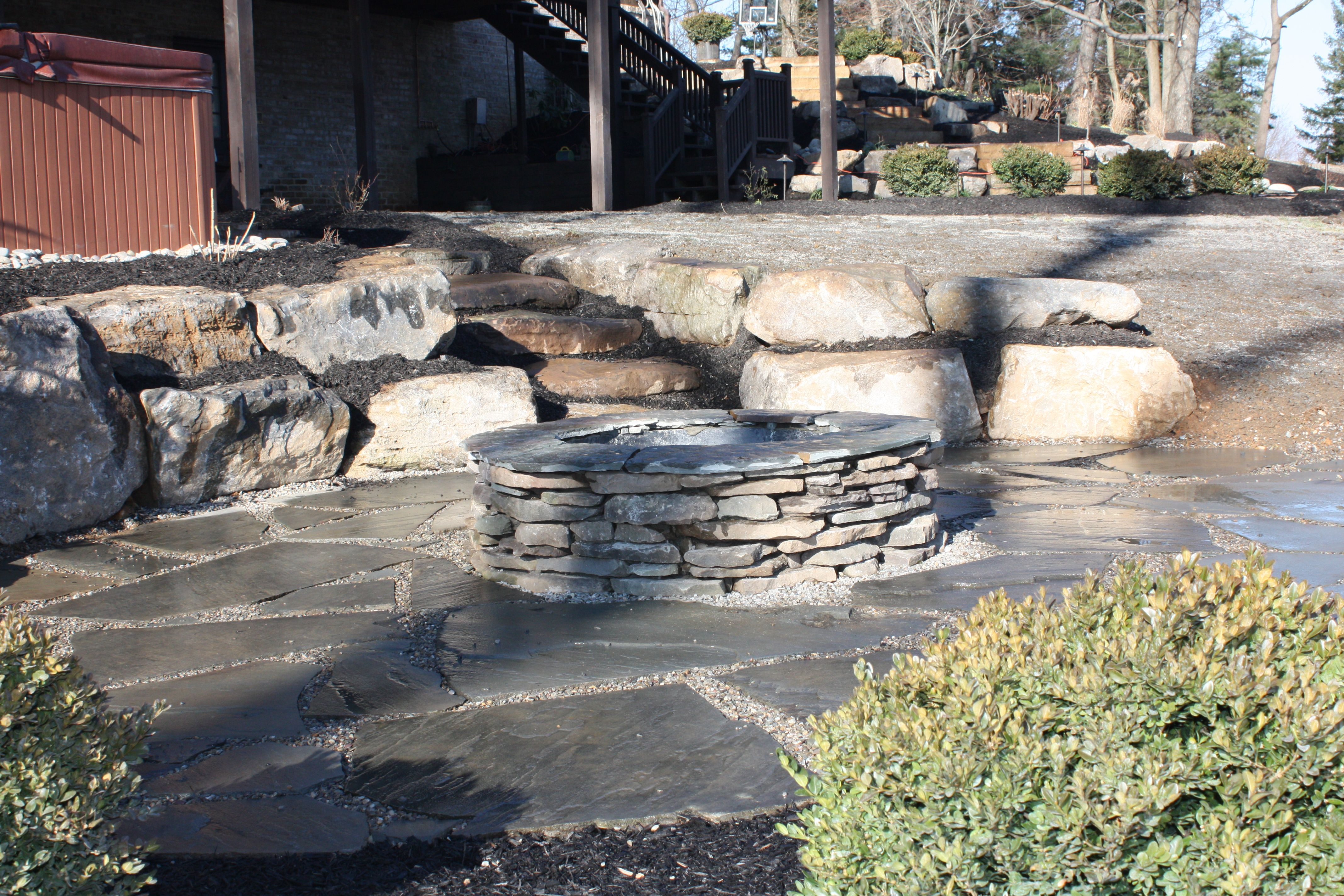 Natural looking firepit.