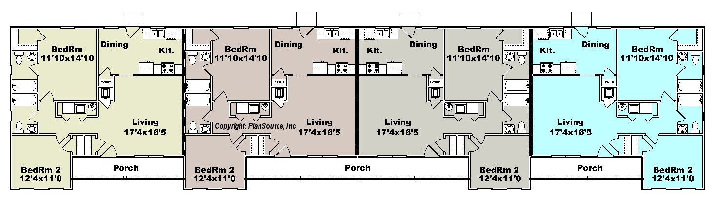 Apartment plan j1964 4b 4 plex multi unit plans for 6 plex floor plans