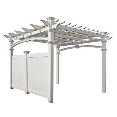 New England Arbors 12 Ft X 12 Ft Vinyl Pergola Flat Privacy Wall Va42027 The Home Depot Vinyl Pergola Pergola Privacy Walls