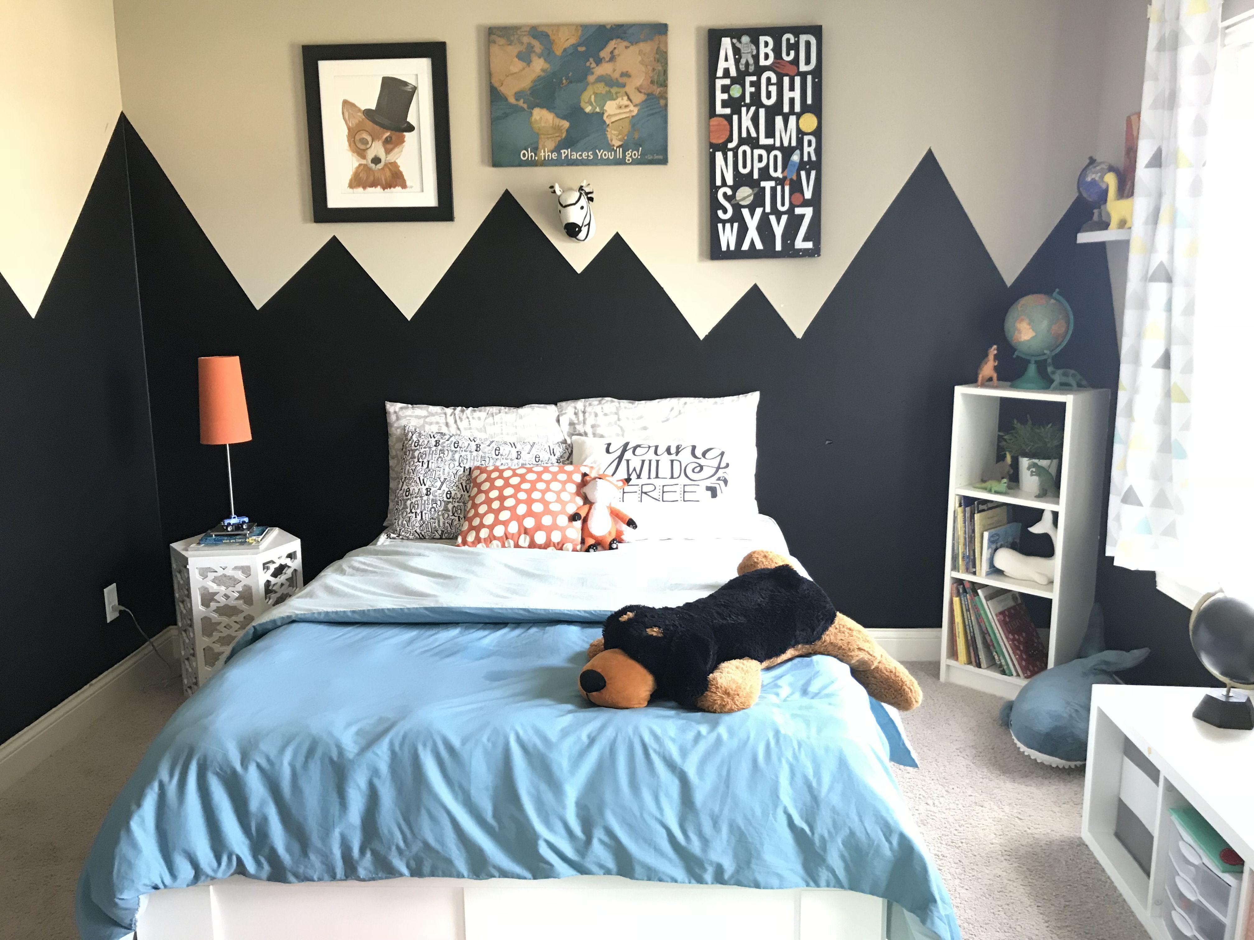 Boys adventure room. Chalkboard wall paint mountains. in ...