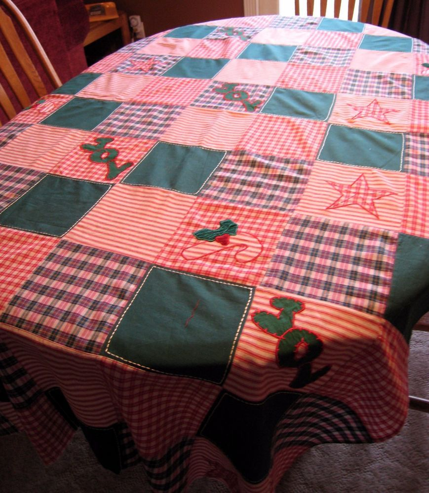 """Quilted Quilt Christmas Topper-Plaid Stripes Red Green Candy Canes Joy - 44""""x78"""""""