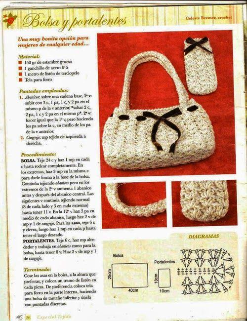Bolso y Funda de Gafas de Crochet - Patrones Crochet   bolsos para ...
