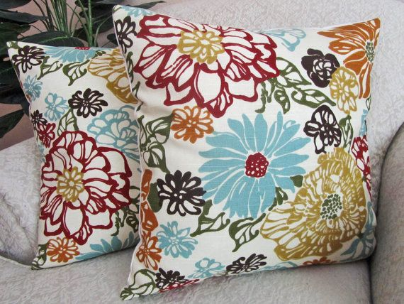 Floral throw pillow cover decorative pillow robins egg blue red orange gold living room colors for Decorative accent pillows living room