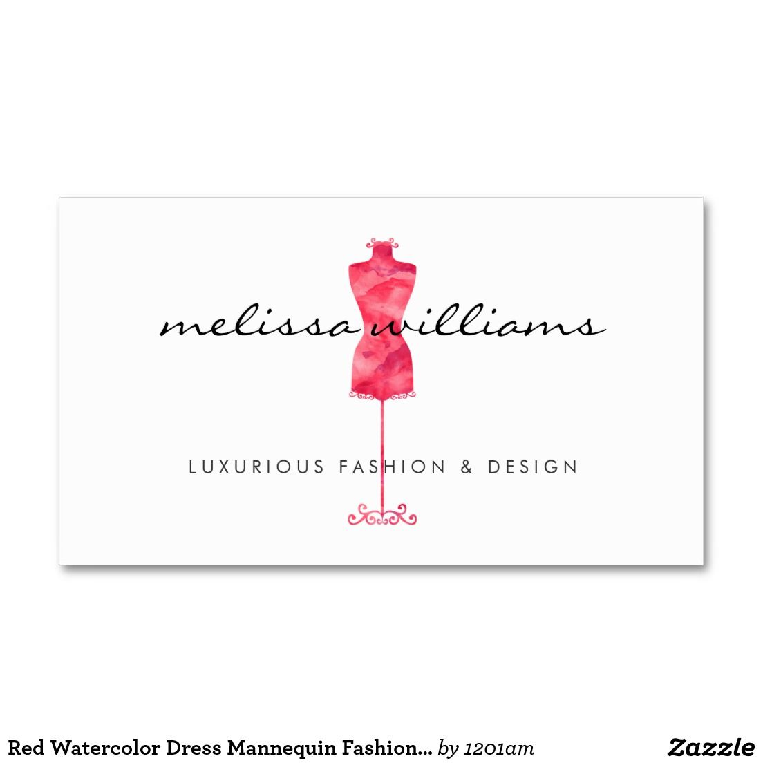 Red Watercolor Dress Mannequin Customizable Business Card For Boutiques Fashion Designers Stylists Bloggers And More