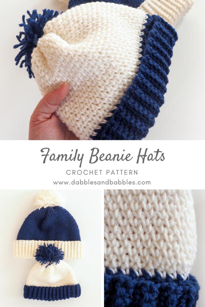 Family Beanie Hats Crochet Pattern - Dabbles & Babbles #beaniehats