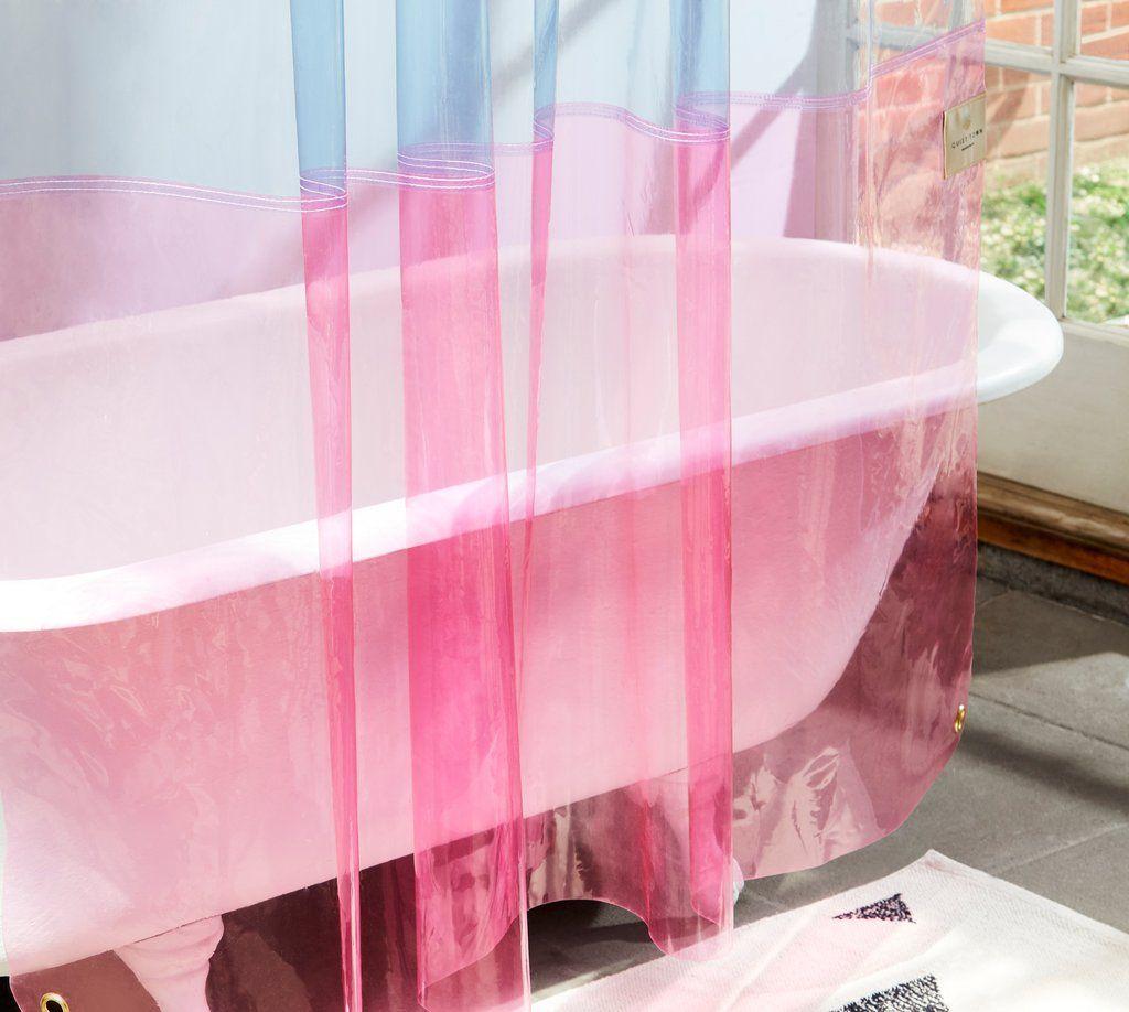 Non Toxic Eva Pink Blue Transparent Shower Curtain Quiet