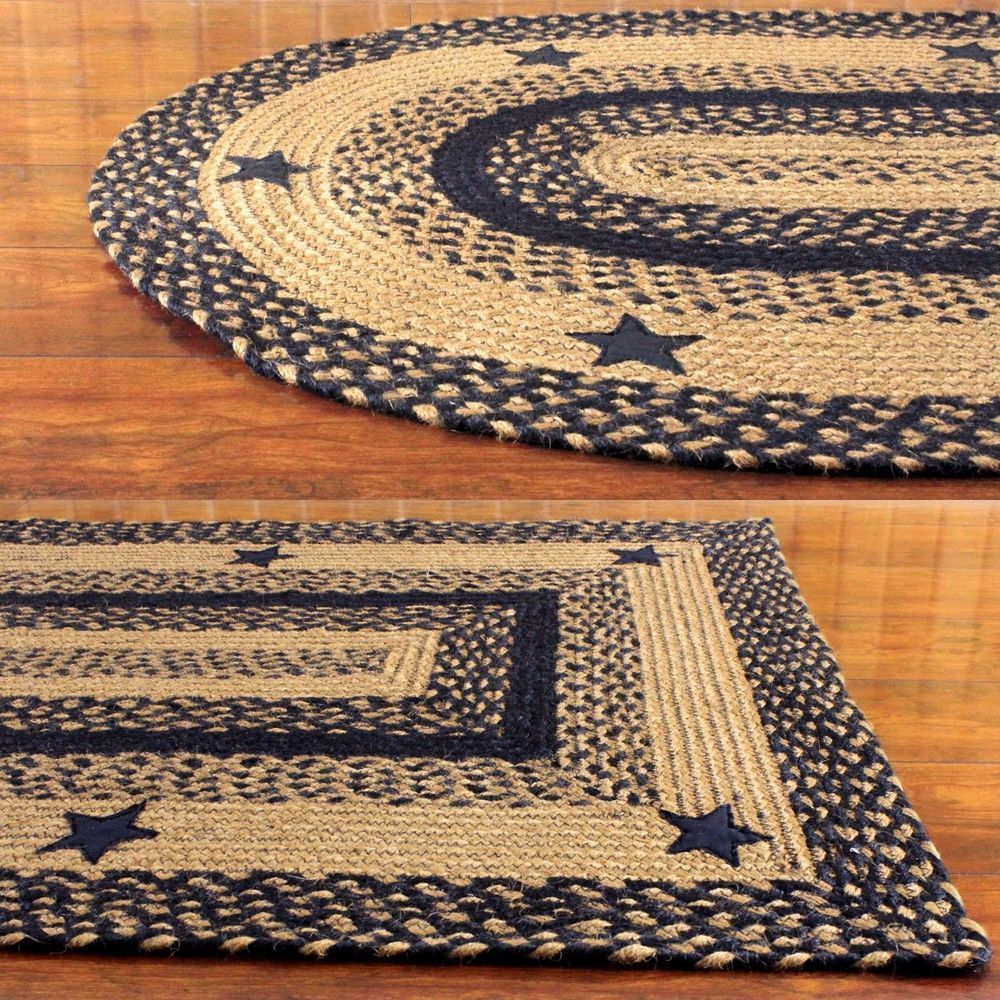 Details About Primitive Braided Area Rugs Country Oval