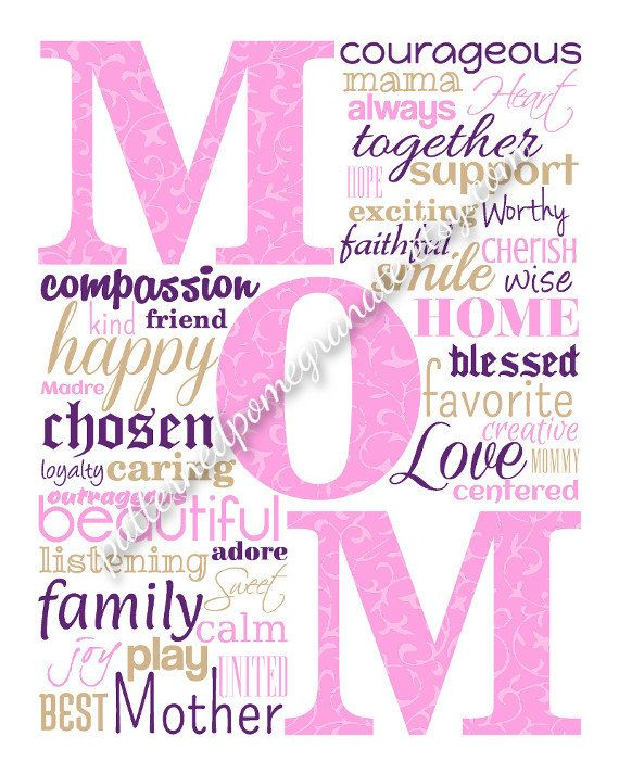 Mom Word Collage Printable Sign Unique By
