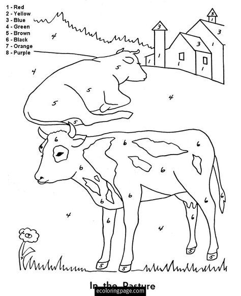 Color By Numbers Farm Animals Cows Coloring Page For Kids Printable