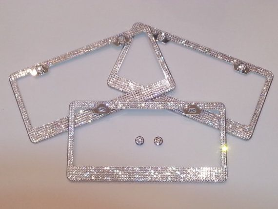 Beautiful SWAROVSKI Crystal Chrome Metal Steel License Plate Frame 5 ...