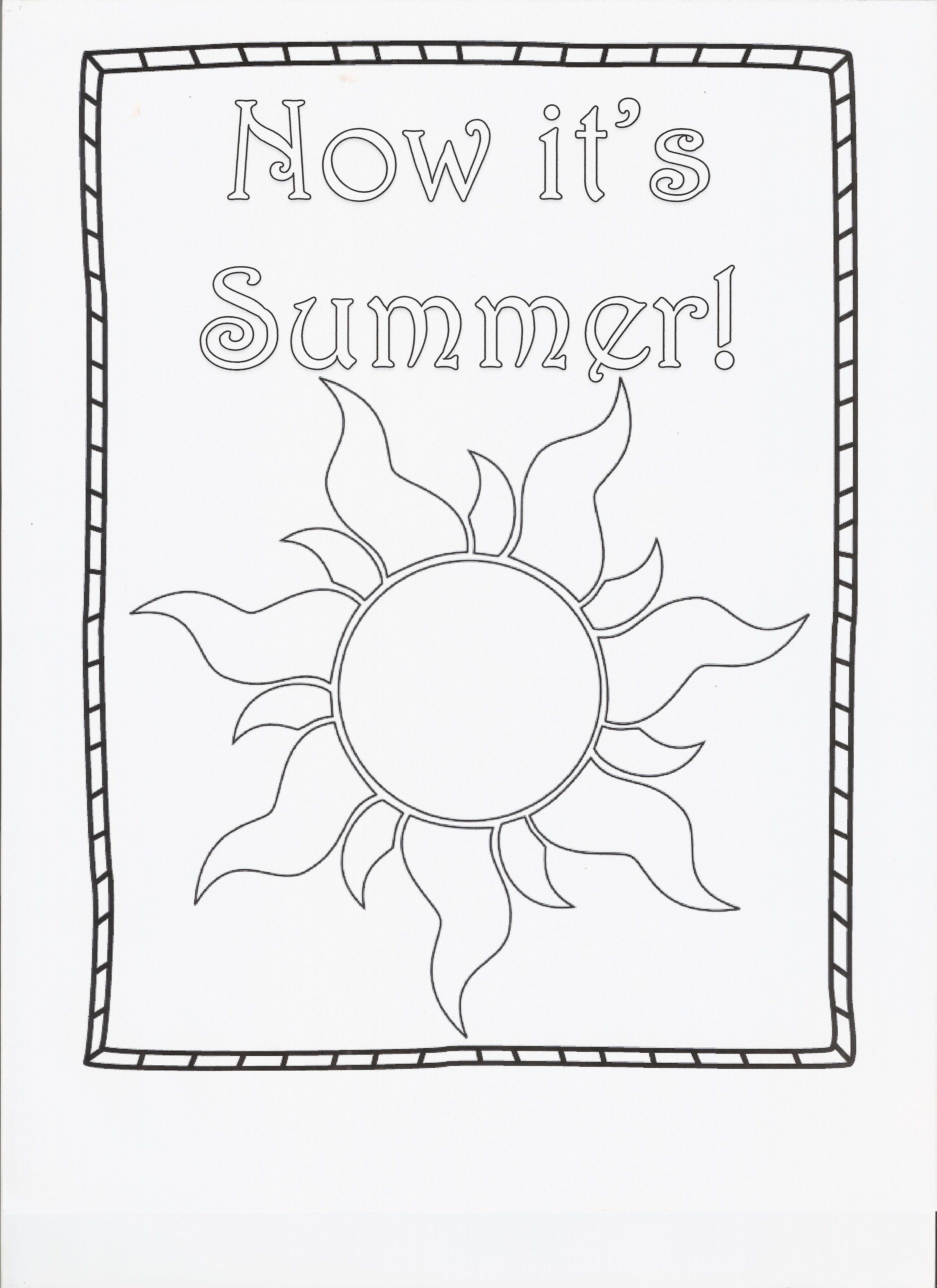 Summer Fun Coloring Page Worksheet End Of School
