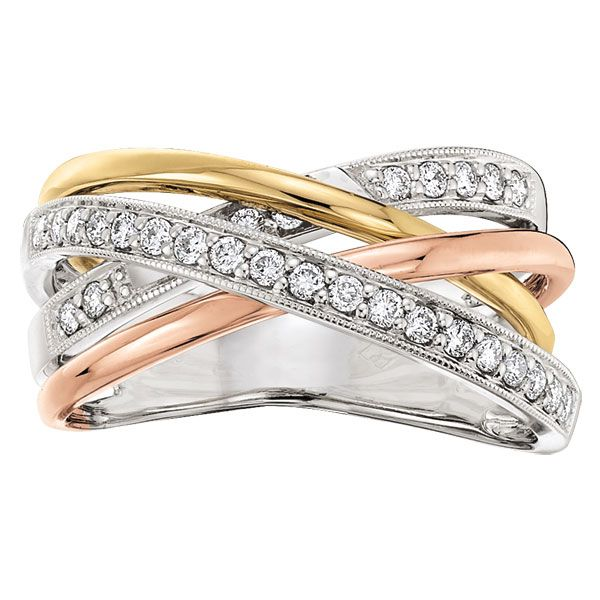 Tri Color Diamond Crossover Ring 14k Crossover Diamond Ring Crossover Ring Black Diamond Ring