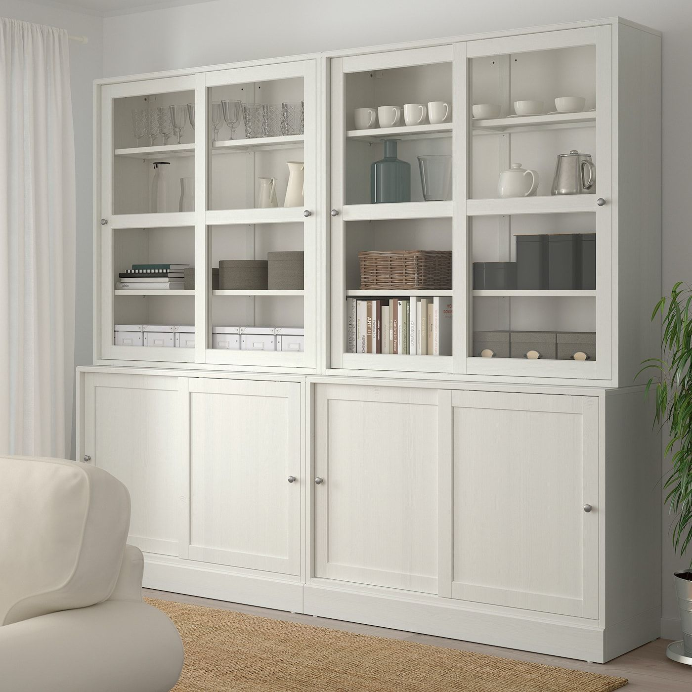 Havsta Storage With Sliding Glass Doors White 95 1 4x18 1 2x83 1