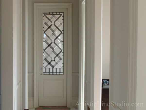 Stained and leaded glass door panel in simple classic ...