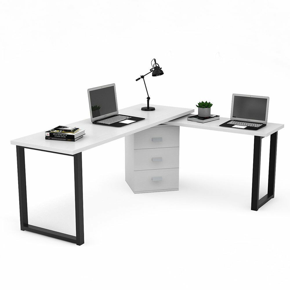 Modern 55 Rotating L Shaped Corner Computer Desk With Storage