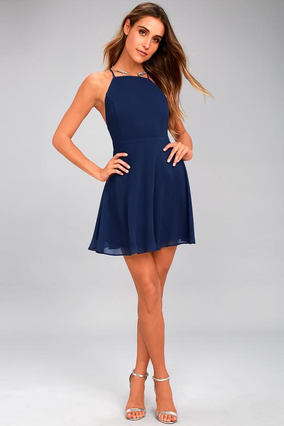 Letter of Love Navy Blue Backless Skater Dress