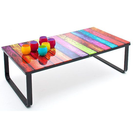 Rainbow Coffee Table In Glass Top With Black Metal Frame £59.95 ...