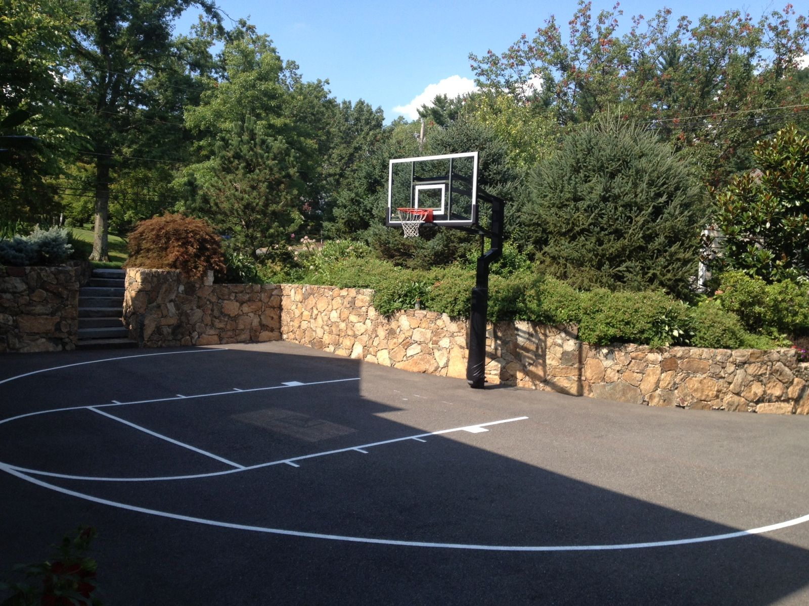Having A Basketball Hoop In Your Driveway Is Very Cool. It Encourages Kids  To Play · Backyard Basketball CourtBasketball ...