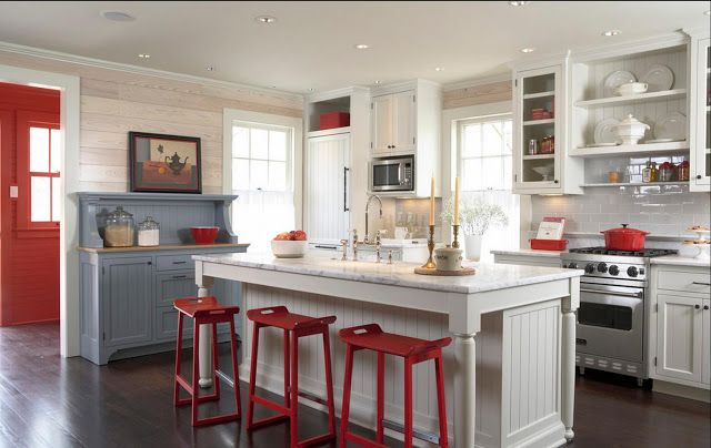 Red White And Blue Kitchen What Not Ta Cottage Style Kitchen