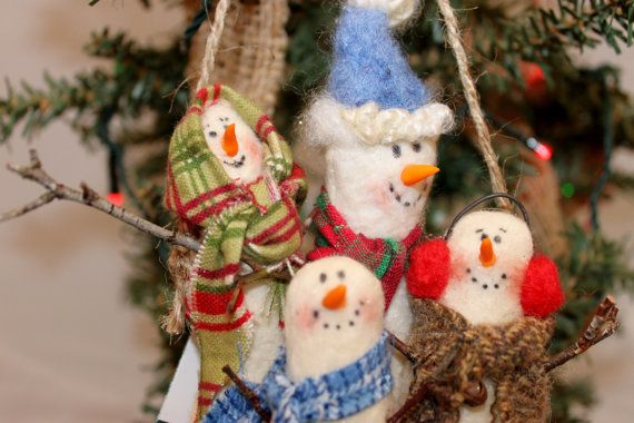 Snow Family Christmas Ornament 249 by Liongate on Etsy
