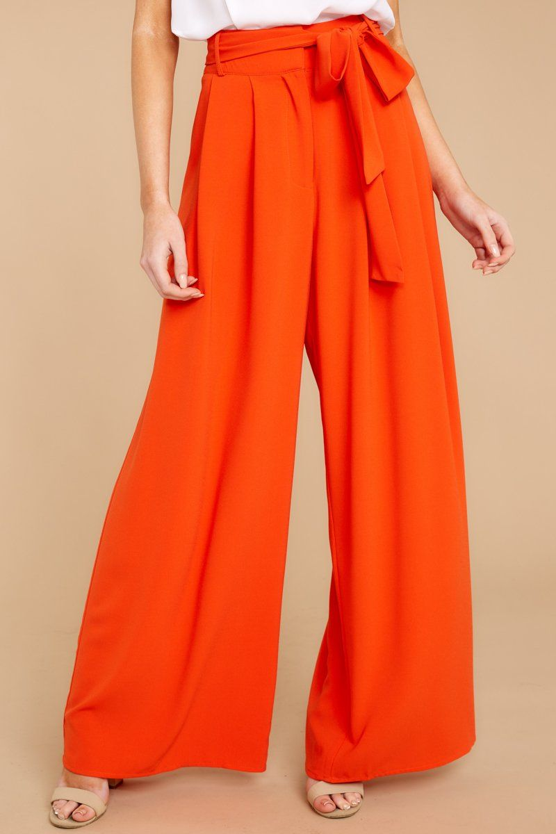 f80e3815cb8fba Trendy Red Orange Palazzo Pants - Flowy Wide Leg Pants - Bottoms - $42 –  Red Dress Boutique
