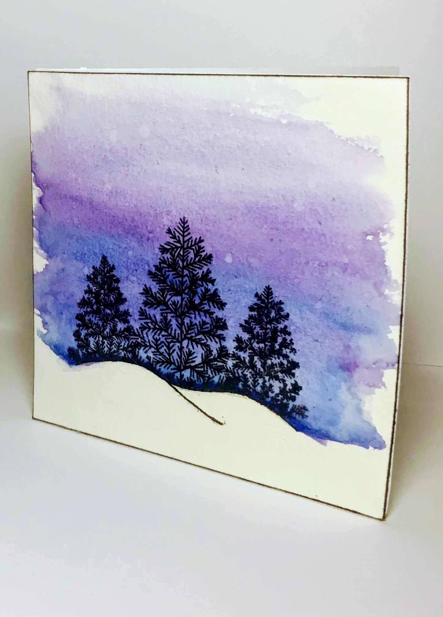 Cares Christmas Cards 2020 Terrific Pic Easy Blue and Purple Watercolor Christmas Tree Card