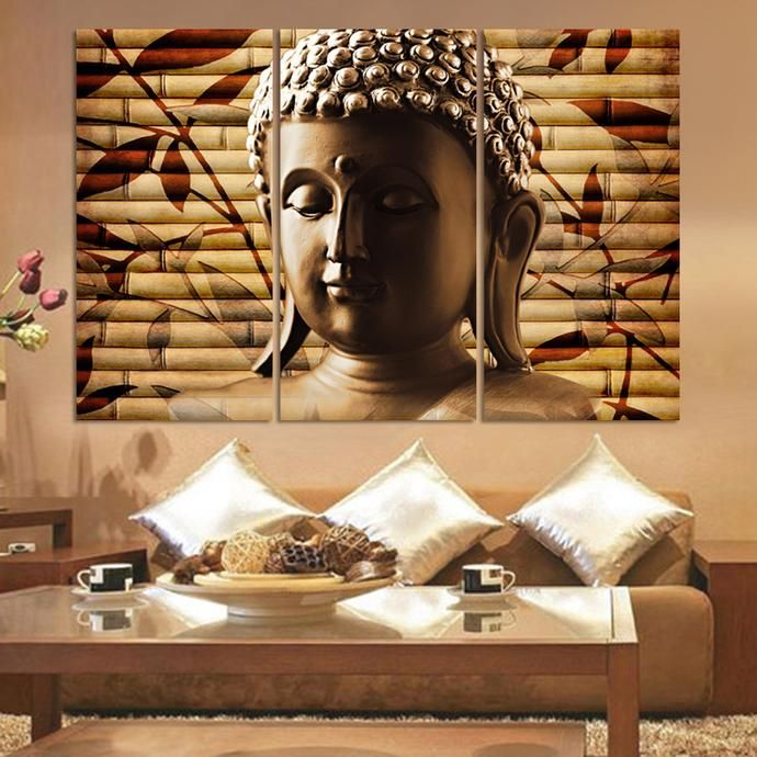 3 Pieces Buddha Painting Wall Canvas Art No Frame Buddha Wall