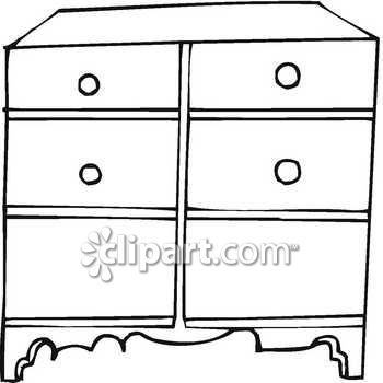 Clipart Black And White Draw Pull Image Of A Dresser Royalty Free Clip Art