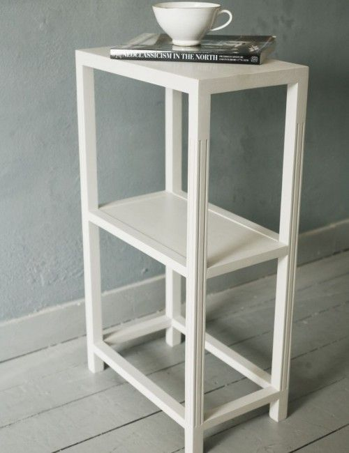 Small Narrow White Side Table A Distressed Tiny Torage In Vintage Style