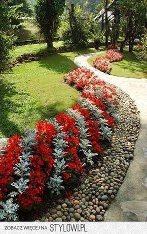 The Silver Is Dusty Miller But I Can T Tell What The Red Is Love The Stripes Landscape Design Simple Landscape Design Beautiful Gardens