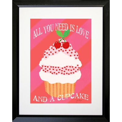 Buy Art For Less 'Cupcake Love' by Jill Meyer Framed Graphic Art Size: 16x20 Black SM